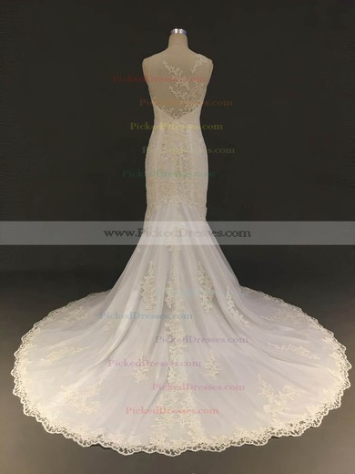 Trumpet/Mermaid Scoop Neck Court Train Tulle with Appliques Lace Wedding Dresses #PDS00022904