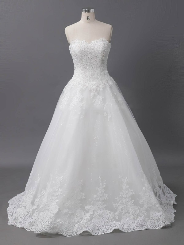 Ball Gown Sweetheart Court Train Tulle with Sequins Wedding Dresses #PDS00022905