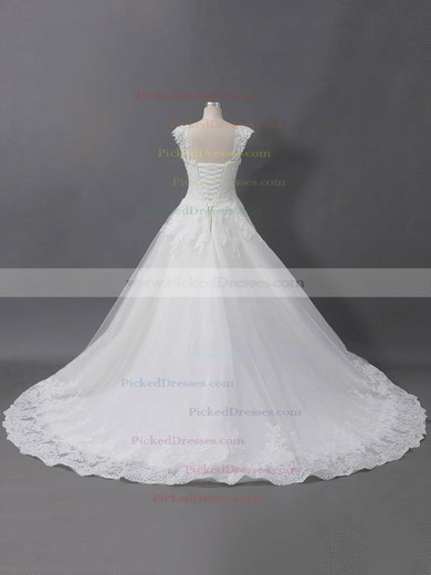 Ball Gown Sweetheart Sweep Train Tulle with Sequins Wedding Dresses #PDS00022907
