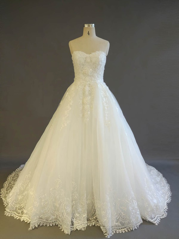 Ball Gown Sweetheart Court Train Tulle with Pearl Detailing Wedding Dresses #PDS00022908