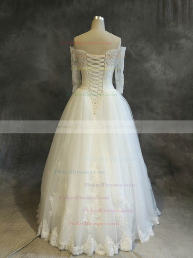 Ball Gown Off-the-shoulder Floor-length Tulle with Sequins Wedding Dresses #PDS00022910