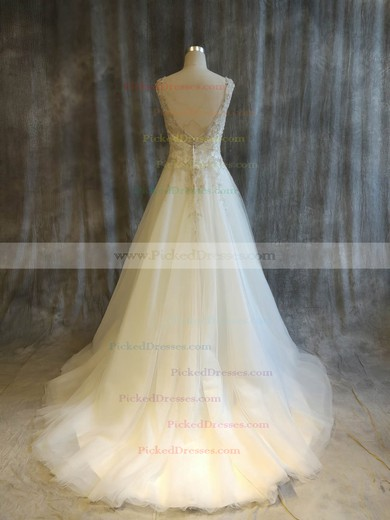 Princess V-neck Sweep Train Tulle with Pearl Detailing Wedding Dresses #PDS00022911
