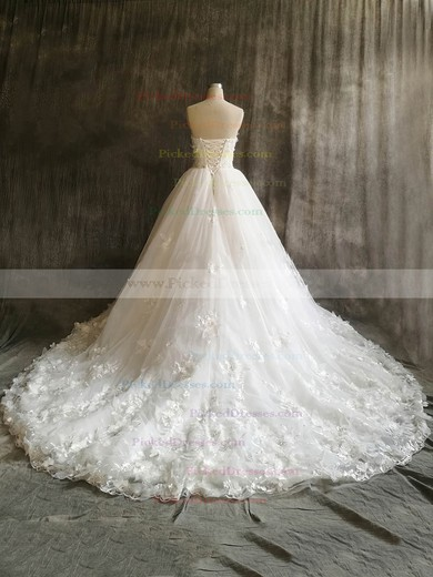 Ball Gown Sweetheart Court Train Tulle with Flower(s) Wedding Dresses #PDS00022912