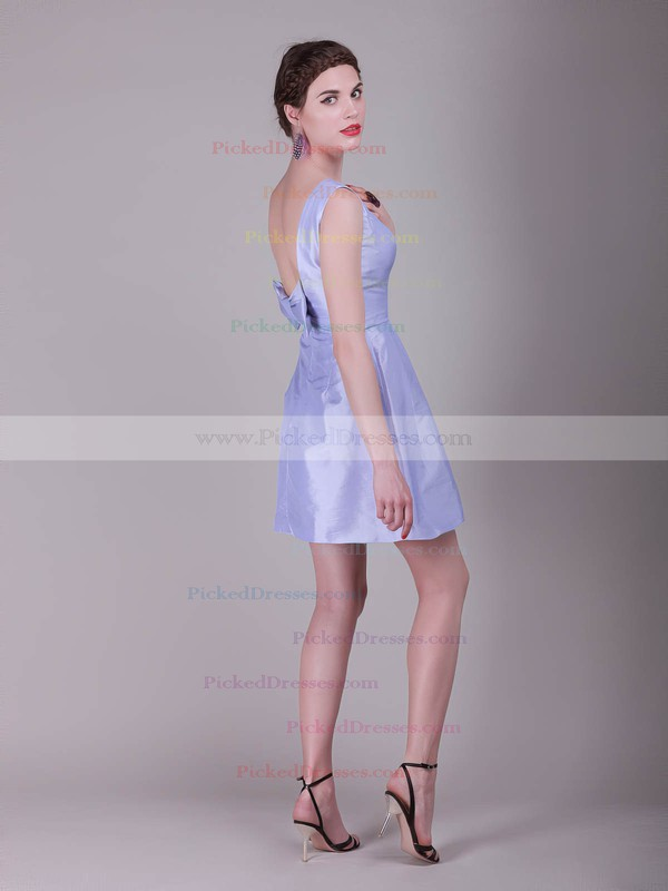 Satin A-line Bateau Short/Mini Bow Bridesmaid Dresses #PDS02013638