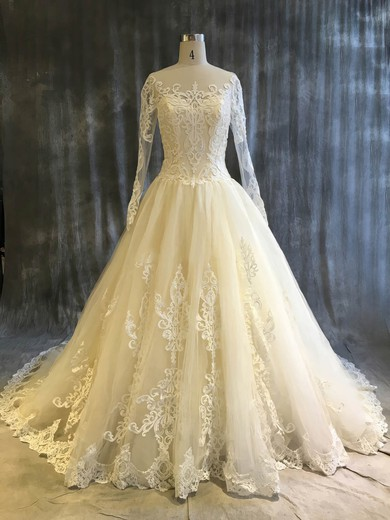 Ball Gown Scoop Neck Chapel Train Tulle with Appliques Lace Wedding Dresses #PDS00022913