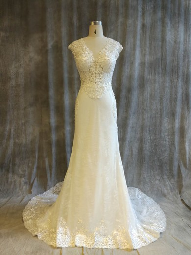 Trumpet/Mermaid V-neck Chapel Train Tulle Lace with Pearl Detailing Wedding Dresses #PDS00022914