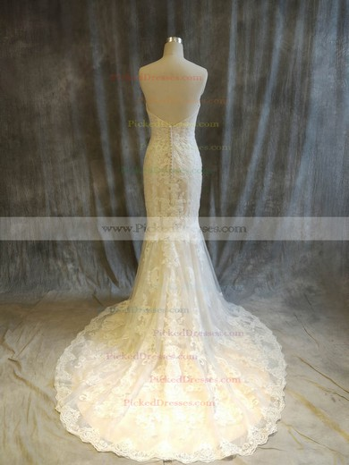 Trumpet/Mermaid Sweetheart Sweep Train Tulle with Appliques Lace Wedding Dresses #PDS00022915
