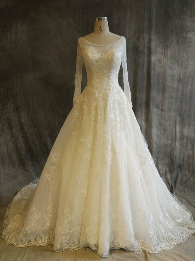 Ball Gown Scoop Neck Chapel Train Tulle with Sequins Wedding Dresses #PDS00022917
