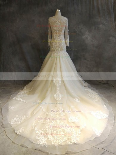 Trumpet/Mermaid Scoop Neck Chapel Train Organza Tulle with Appliques Lace Wedding Dresses #PDS00022918