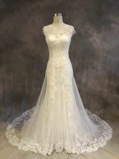 A-line Scoop Neck Chapel Train Tulle with Appliques Lace Wedding Dresses #PDS00022919
