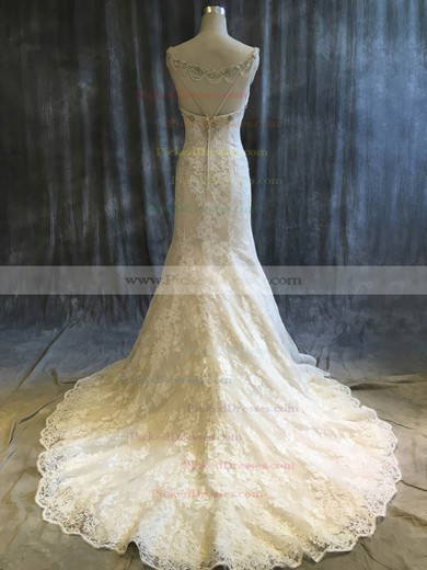 Trumpet/Mermaid V-neck Sweep Train Tulle Lace with Sequins Wedding Dresses #PDS00022920