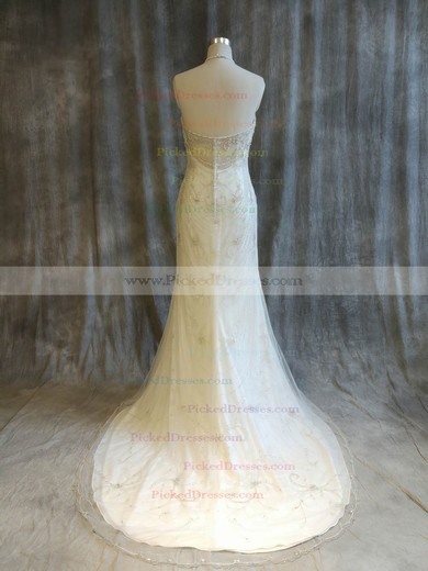 Trumpet/Mermaid Halter Sweep Train Tulle with Pearl Detailing Wedding Dresses #PDS00022921