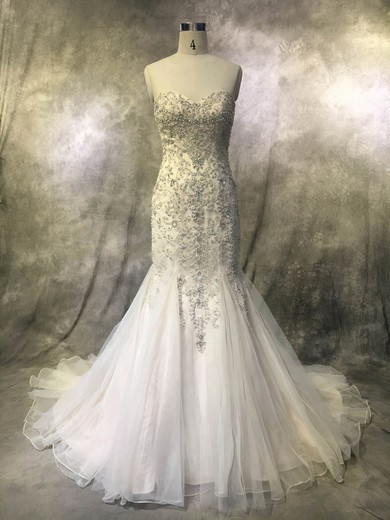 Trumpet/Mermaid Sweetheart Court Train Tulle with Pearl Detailing Wedding Dresses #PDS00022922
