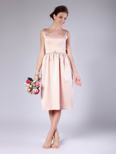 Satin Sheath/Column Bateau Tea-length Sashes/Ribbons Bridesmaid Dresses #PDS02013678