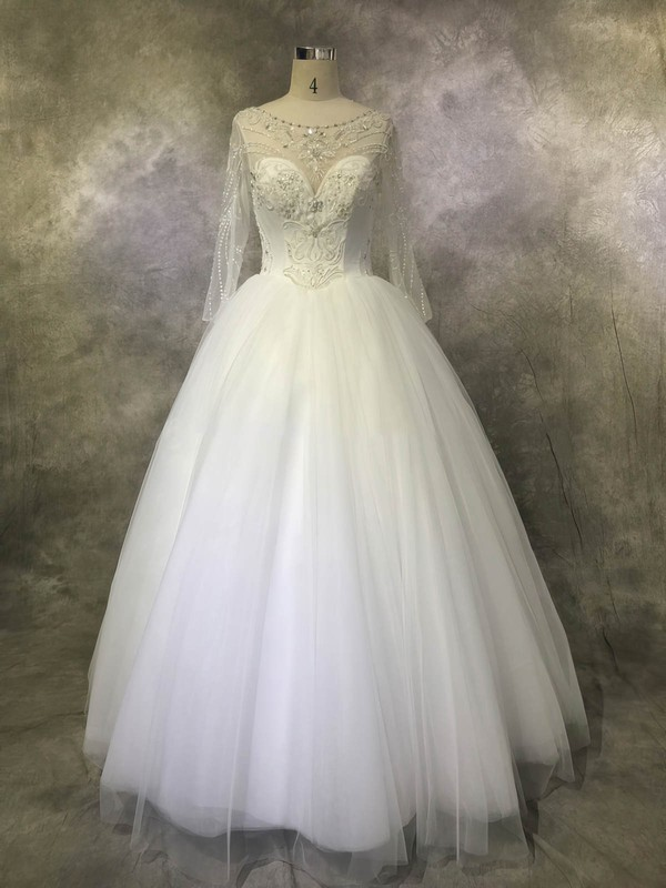 Ball Gown Scoop Neck Floor-length Tulle with Sequins Wedding Dresses #PDS00022923
