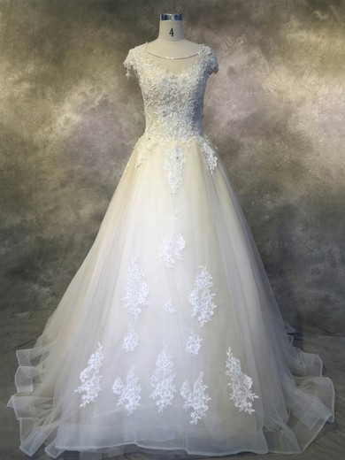 Ball Gown Scoop Neck Cathedral Train Tulle with Appliques Lace Wedding Dresses #PDS00022924