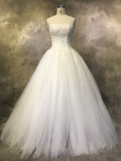 Ball Gown Strapless Court Train Tulle with Appliques Lace Wedding Dresses #PDS00022925
