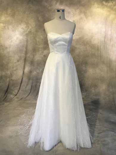 A-line Sweetheart Sweep Train Tulle with Ruffles Wedding Dresses #PDS00022926