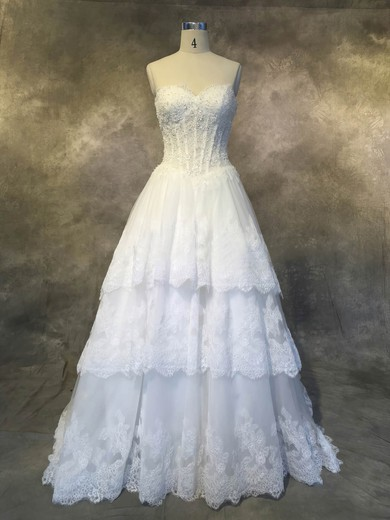 A-line Sweetheart Court Train Tulle with Appliques Lace Wedding Dresses #PDS00022927