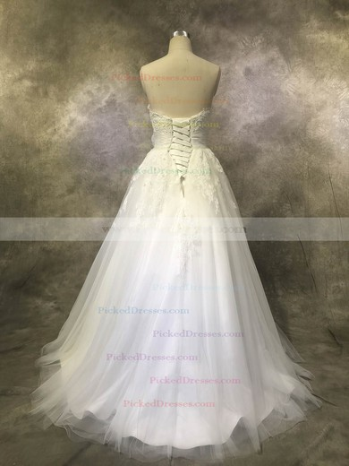 Ball Gown Sweetheart Floor-length Tulle with Sashes / Ribbons Wedding Dresses #PDS00022928