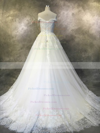 Ball Gown Off-the-shoulder Court Train Tulle with Beadings Wedding Dresses #PDS00022929