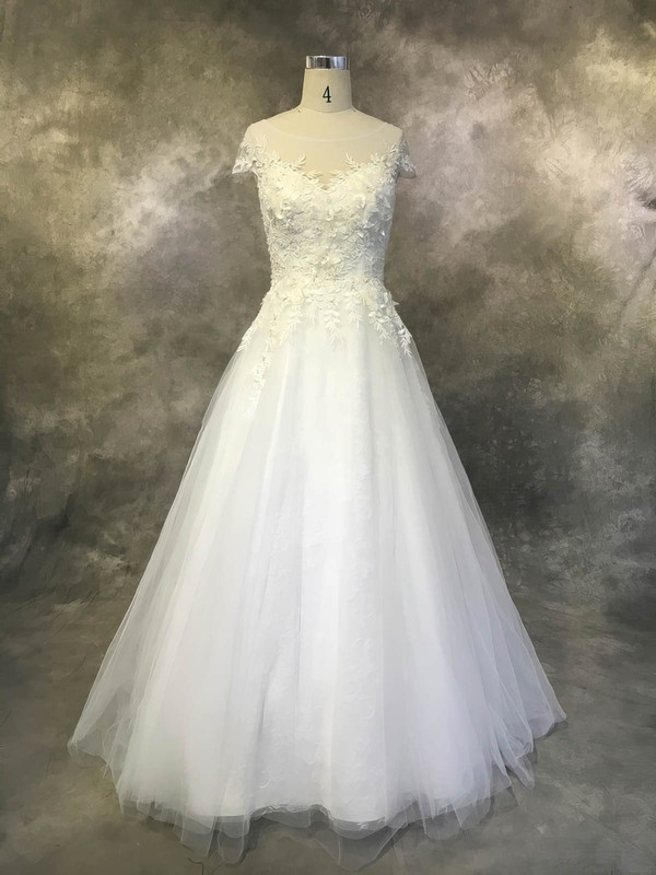 Ball Gown Scoop Neck Court Train Tulle with Appliques Lace Wedding Dresses #PDS00022930