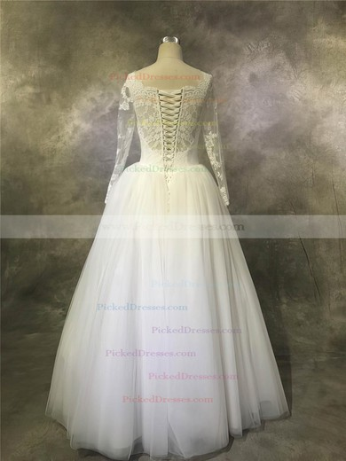 Ball Gown Scalloped Neck Floor-length Tulle with Appliques Lace Wedding Dresses #PDS00022932