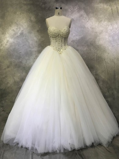 Ball Gown Sweetheart Floor-length Tulle with Crystal Detailing Wedding Dresses #PDS00022933