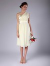 Chiffon Sheath/Column One Shoulder Knee-length Pleats Bridesmaid Dresses #PDS02013683