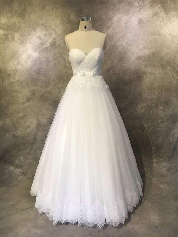 Ball Gown Sweetheart Floor-length Tulle with Sashes / Ribbons Wedding Dresses #PDS00022934