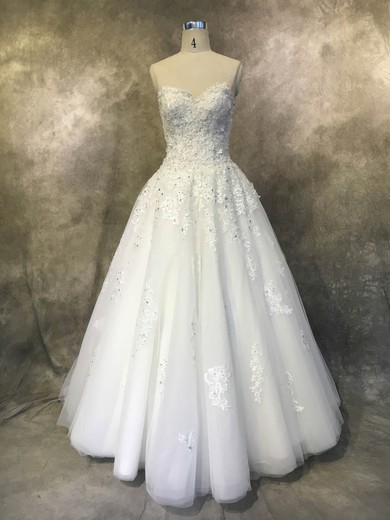 Ball Gown Sweetheart Floor-length Tulle with Appliques Lace Wedding Dresses #PDS00022935