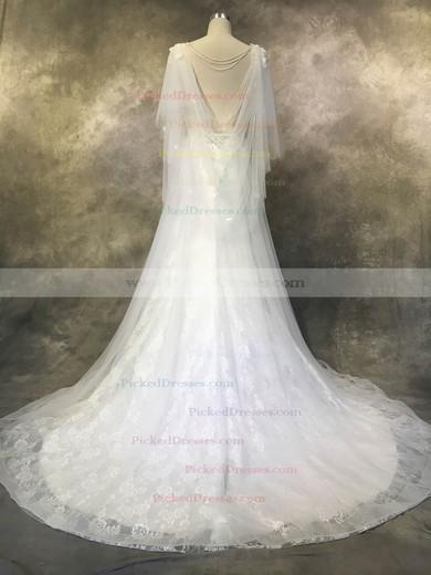 A-line V-neck Court Train Tulle Lace with Appliques Lace Wedding Dresses #PDS00022936