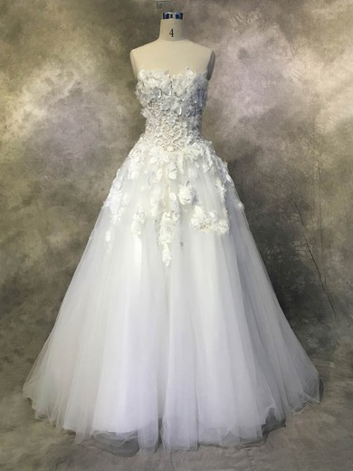 Ball Gown Strapless Chapel Train Tulle with Appliques Lace Wedding Dresses #PDS00022937