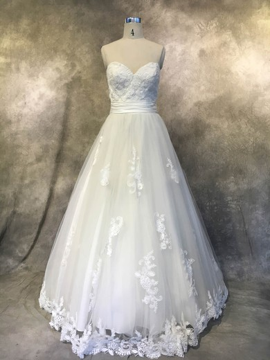Princess Sweetheart Court Train Tulle with Sashes / Ribbons Wedding Dresses #PDS00022938