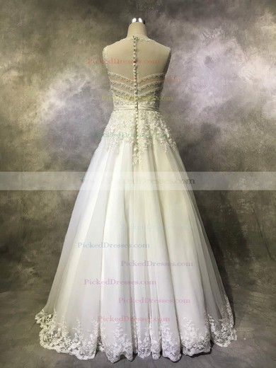 Princess Scoop Neck Floor-length Tulle with Sashes / Ribbons Wedding Dresses #PDS00022939