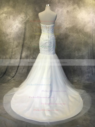 Trumpet/Mermaid Strapless Court Train Tulle with Flower(s) Wedding Dresses #PDS00022940