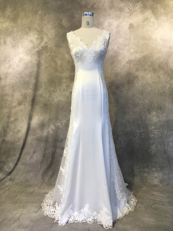 Trumpet/Mermaid V-neck Court Train Satin Tulle with Appliques Lace Wedding Dresses #PDS00022941