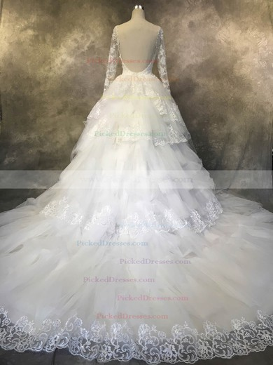 Ball Gown Scoop Neck Chapel Train Tulle with Sequins Wedding Dresses #PDS00022942