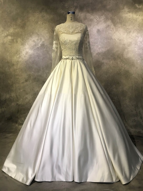 Ball Gown Scoop Neck Court Train Satin Tulle with Beading Wedding Dresses #PDS00022943