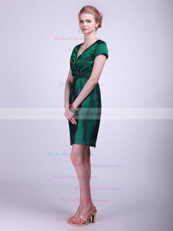 Taffeta Sheath/Column V-neck Short/Mini Ruched Bridesmaid Dresses #PDS02042130