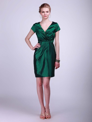 Taffeta Sheath/Column V-neck Short/Mini Ruched Bridesmaid Dresses #PDS02042130
