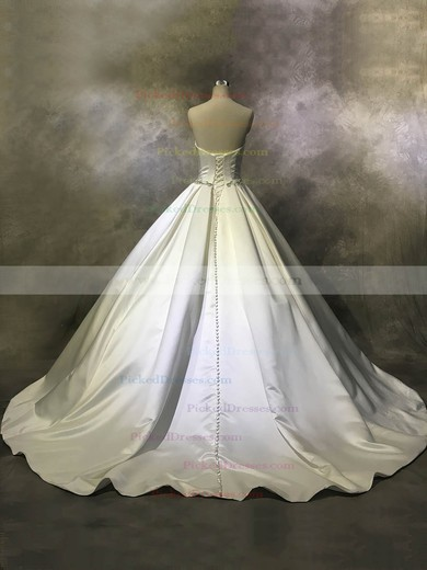 Ball Gown Strapless Court Train Satin with Buttons Wedding Dresses #PDS00022944