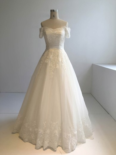 Ball Gown Off-the-shoulder Floor-length Tulle with Appliques Lace Wedding Dresses #PDS00022945