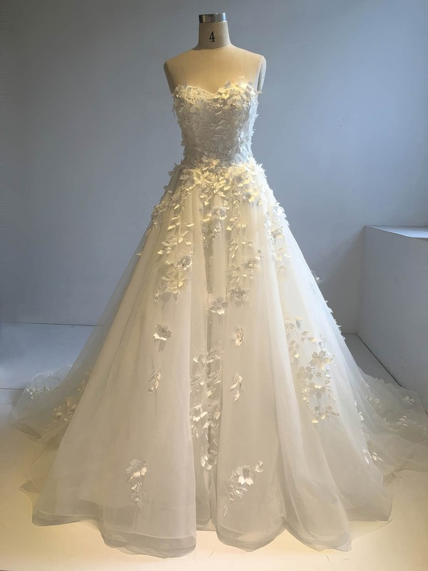 Ball Gown Sweetheart Court Train Organza with Sequins Wedding Dresses #PDS00022946