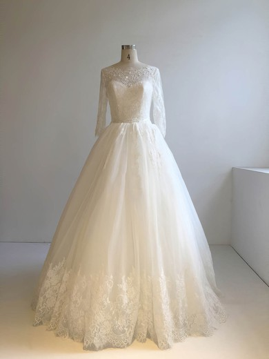 Ball Gown Scoop Neck Floor-length Tulle with Appliques Lace Wedding Dresses #PDS00022948
