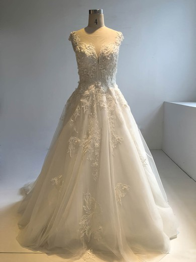 Ball Gown Scoop Neck Cathedral Train Tulle with Appliques Lace Wedding Dresses #PDS00022949