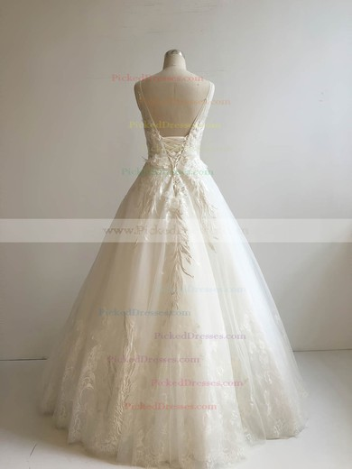Ball Gown Scoop Neck Floor-length Lace Tulle with Appliques Lace Wedding Dresses #PDS00022951