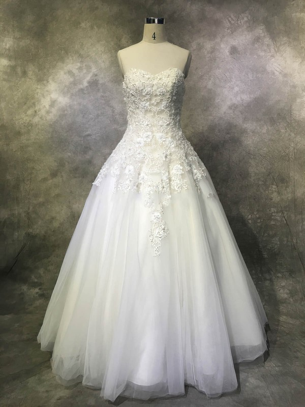 Ball Gown Sweetheart Floor-length Tulle with Sequins Wedding Dresses #PDS00022952