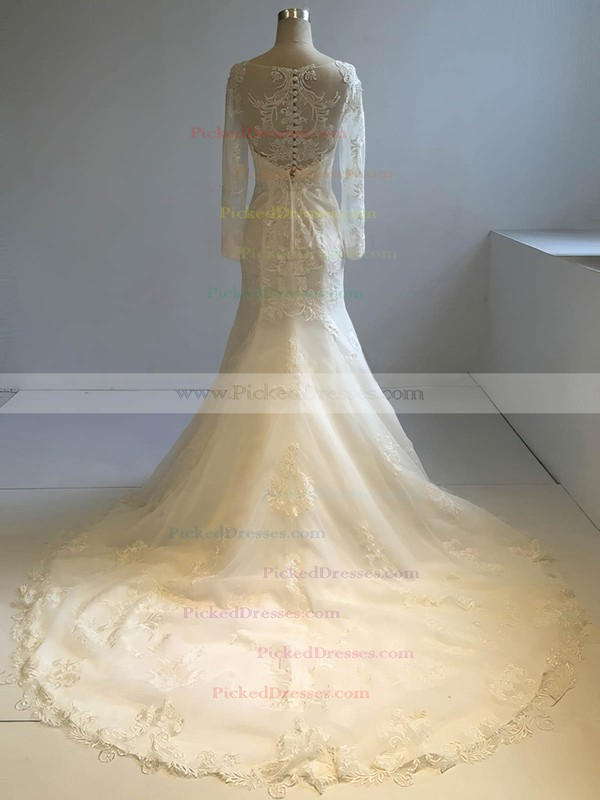 Trumpet/Mermaid Scoop Neck Court Train Tulle with Appliques Lace Wedding Dresses #PDS00022953