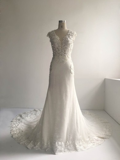 Trumpet/Mermaid Scoop Neck Court Train Lace Tulle with Pearl Detailing Wedding Dresses #PDS00022954